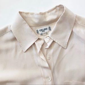 Celine silk blouse cream long sleeve top sz 16 XL